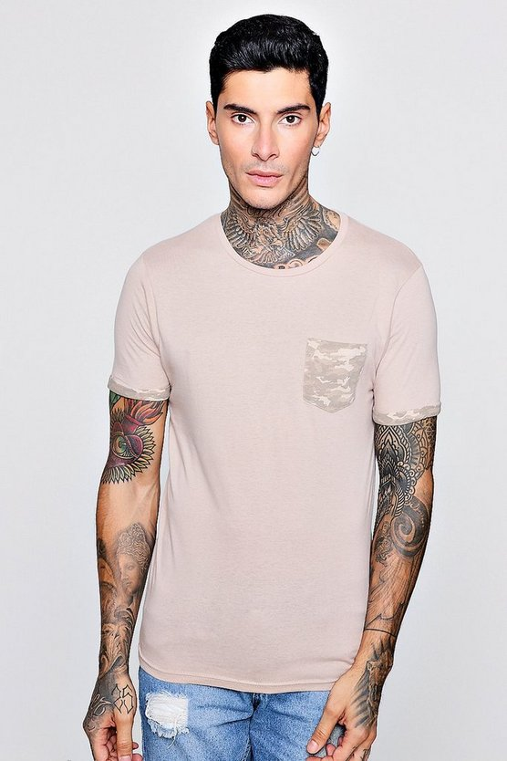 Stone Crew Neck T-Shirt With Camo Pocket Print