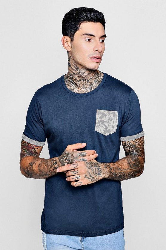 Crew Neck T-Shirt With Floral Pocket