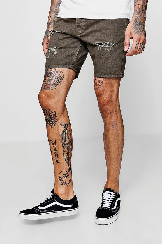 Slim Fit Khaki Denim Shorts