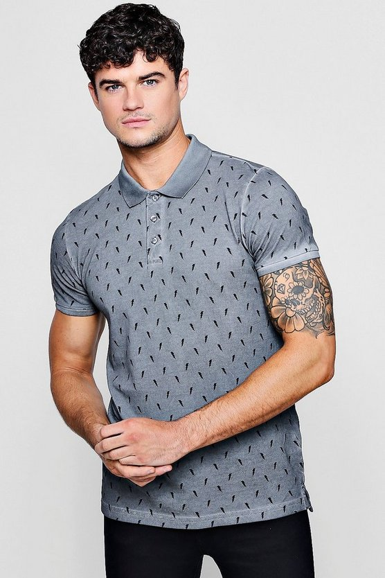 Cotton Pique Washed Polo With Lightening Bolt Print