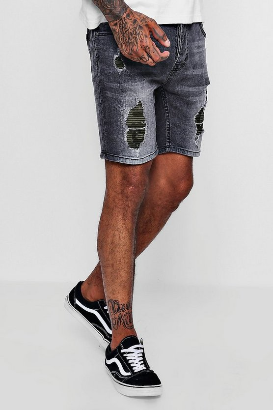 Skinny Fit Denim Shorts With Camo Backing