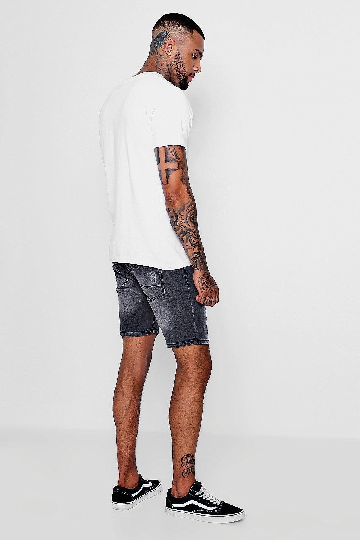 parte en Pantalones la trasera cortos gris de denim camuflaje con skinny Ygq5xg