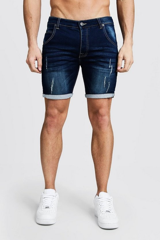 Dark blue Skinny Fit Jersey Denim Shorts With Selvedge