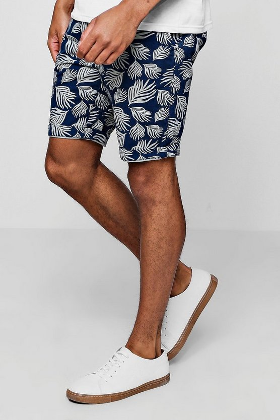 Leaf Print Slim Fit Cotton Short