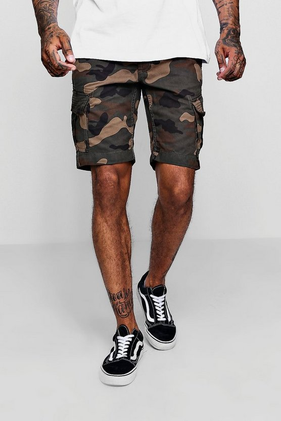 Camo Print Cotton Cargo Short