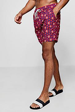 triangle print mid length swim short