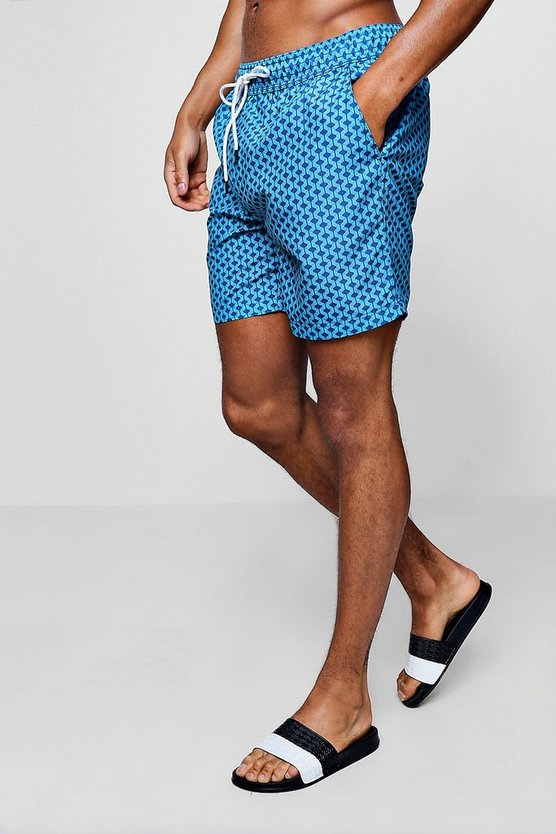 Geo Print Mid Length Swim Short