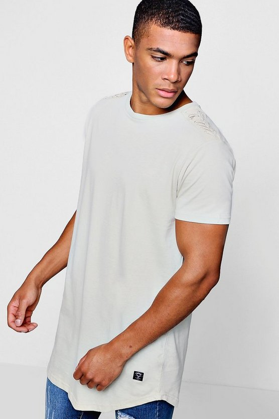 Longline T-Shirt With Shoulder Detail