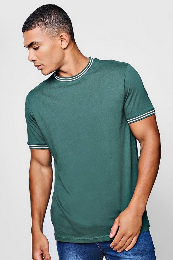 Crew Neck T-Shirt With Rib Neck And Cuff