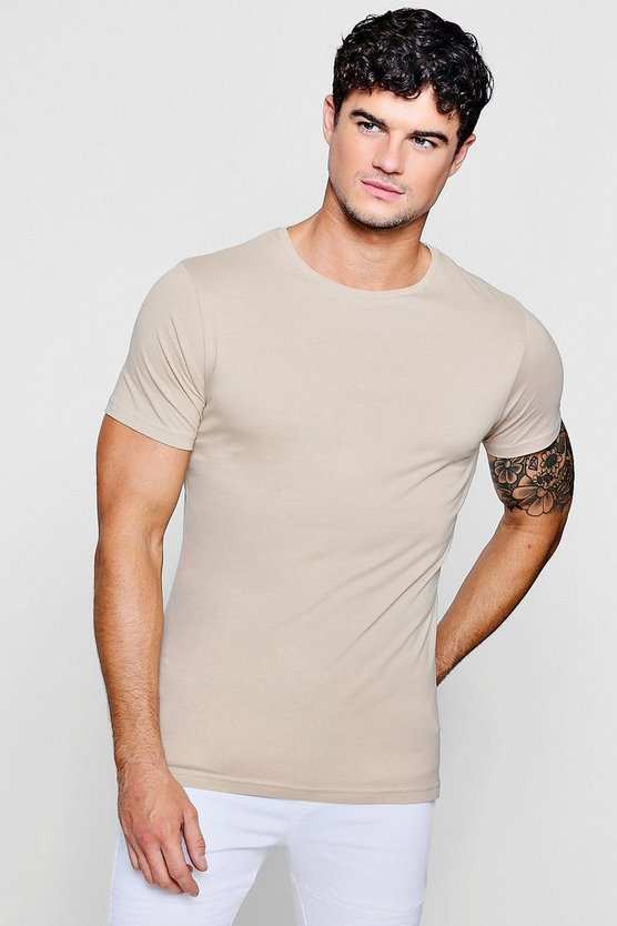 Mens Stone Curve Back T-Shirt With Centre Seam