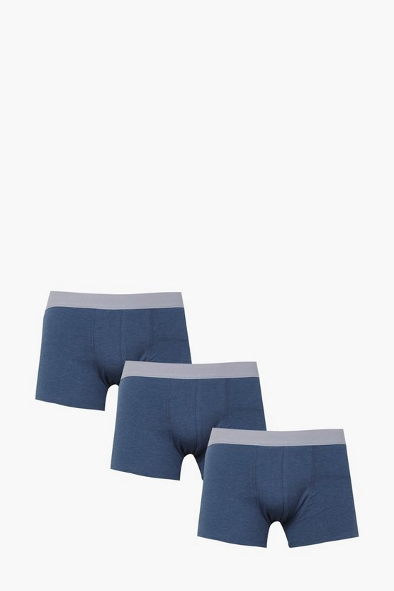 Mens Blue 3 Pack Hipster Trunks In Mixed Colours
