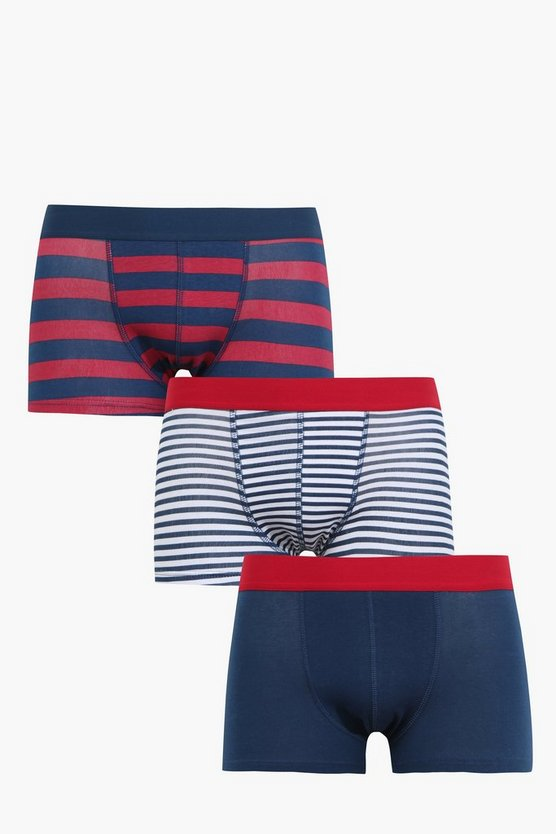 3 Pack Stripe Hipster Trunks