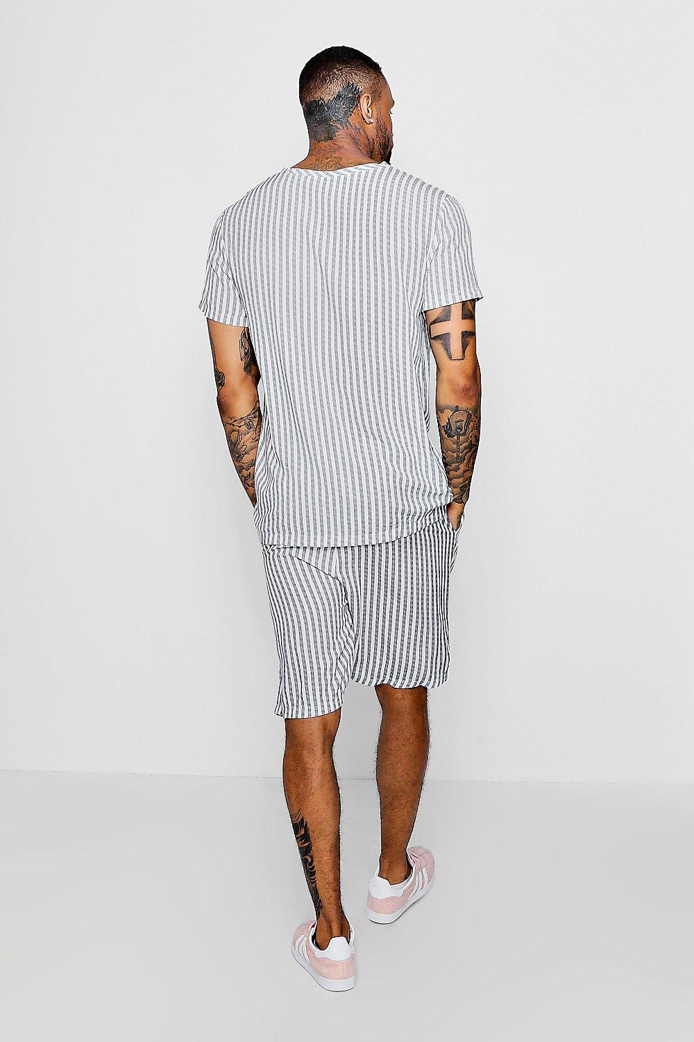 T Stripe Shirt Vertical blue Woven OE8xdnRT