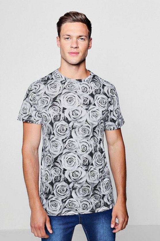 All Over Rose Print Oversized T-Shirt, Black, HOMBRE