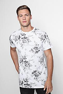Mono Rose Print Oversized T-Shirt