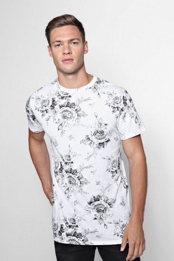 Mono Rose Print Oversized T-Shirt