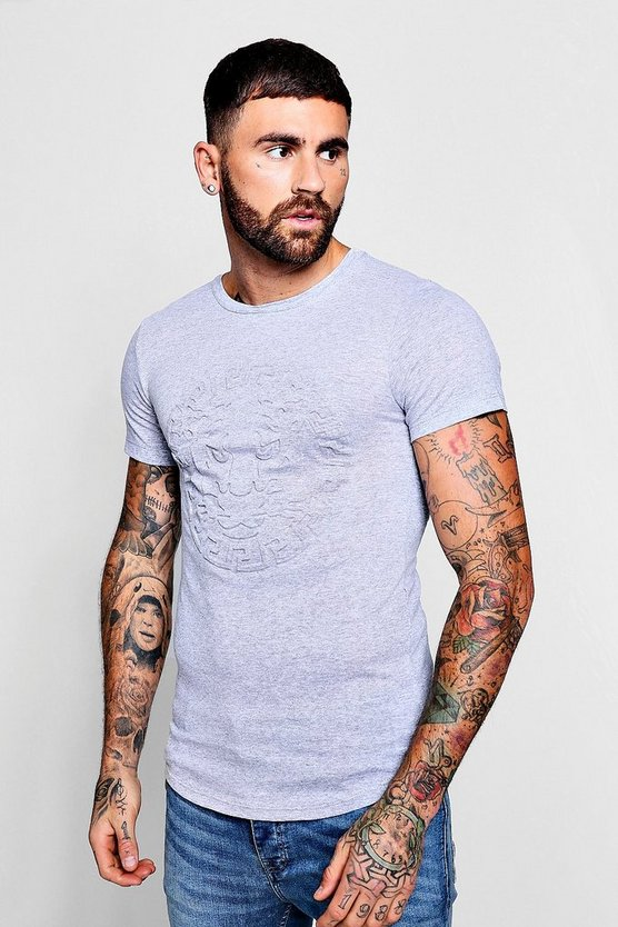 Mens Grey Embossed Lion Longline Curved Hem T-Shirt