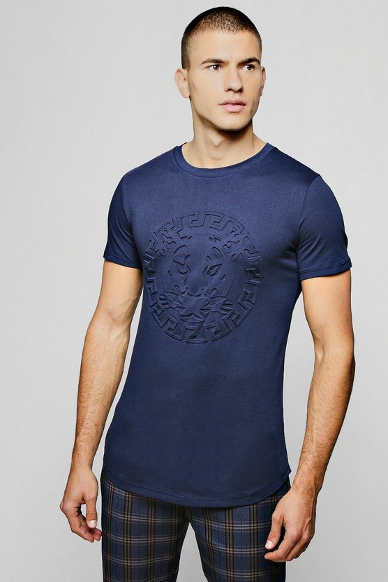 Embossed Lion Longline Curved Hem T-Shirt