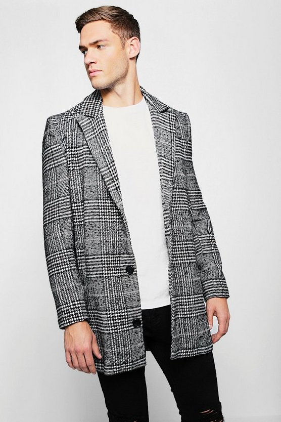 Check Wool Single Breasted Overcoat