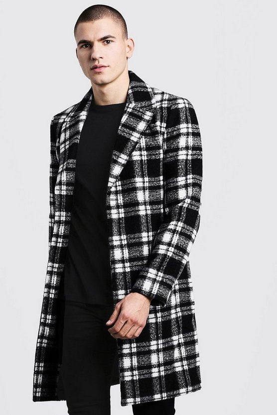 Mens Black Check Wool Look Single Breasted Overcoat