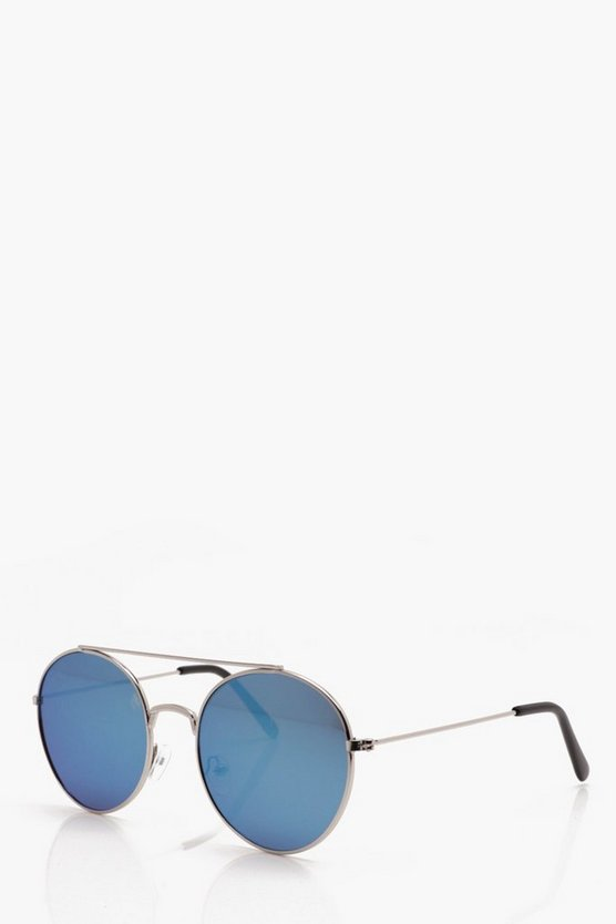 Mirror Round Sunglasses With Top Bar