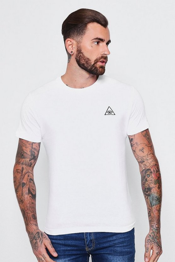 Crew Neck T Shirt With Eye Embroidery by Boohoo Man
