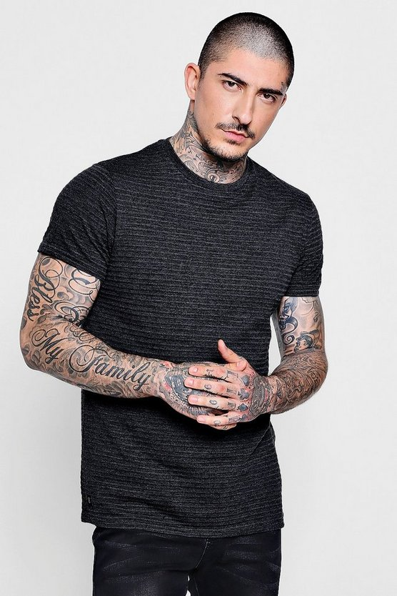 Muscle Fit Ribbed Textured Tee