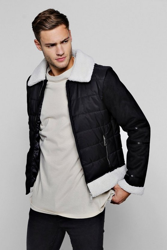 Mens Black Quilted Borg Trim Jacket