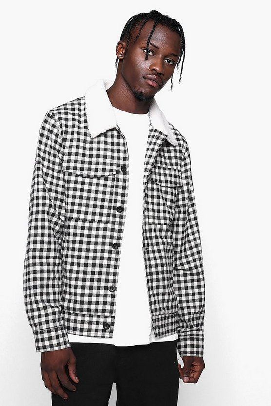 Borg Collar Check Trucker Jacket