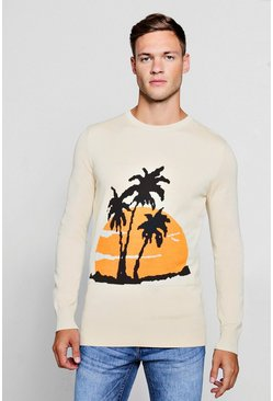 Palm Intarsia Knitted Jumper, Cream, Uomo