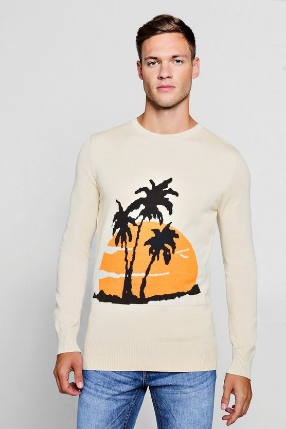 Palm Intarsia Knitted Jumper