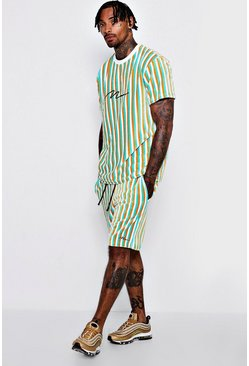 Mens Multi MAN Signature Velour Stripe Short Set
