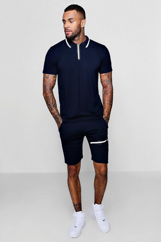 Sports Zip Polo and Slim Mid Length Short Set