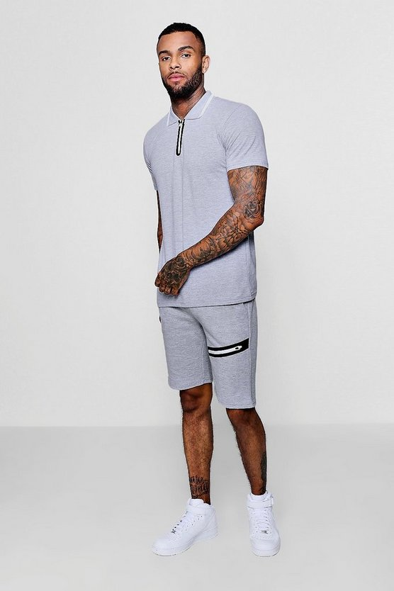 Sports Zip Polo and Slim Mid Length Shorts Set