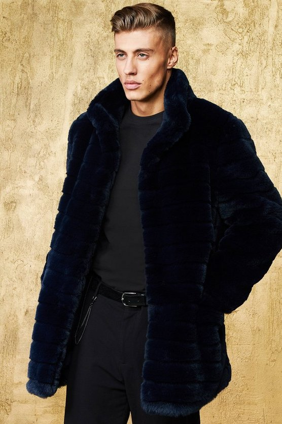Mens Navy Stripe Luxe Faux Fur Overcoat