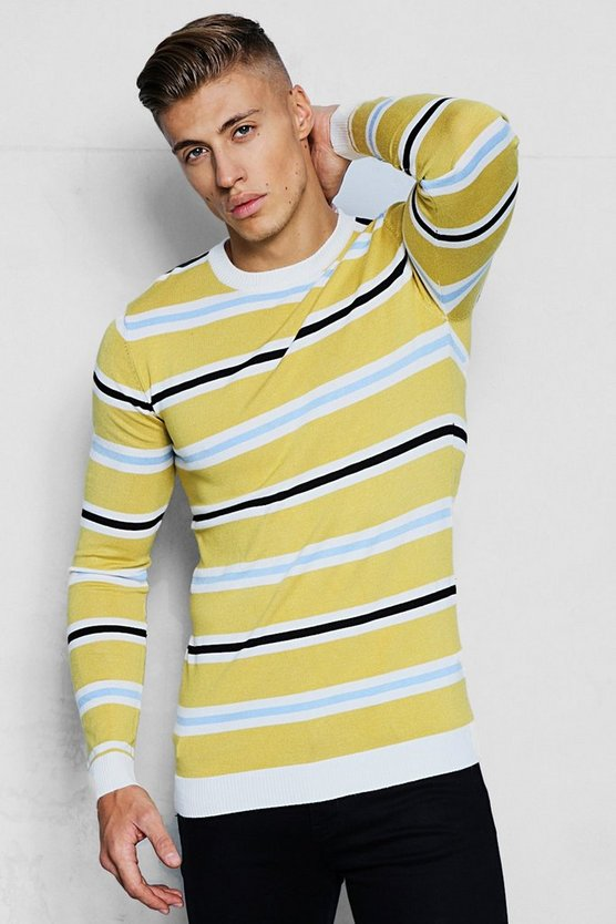 Mens Mustard Knitted Jacquard Stripe Jumper