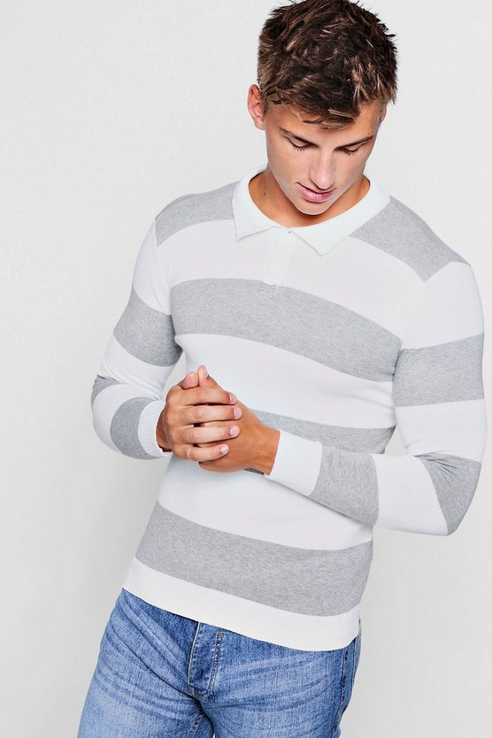 Mens Grey Muscle Fit Long Sleeved Knitted Stripe Polo