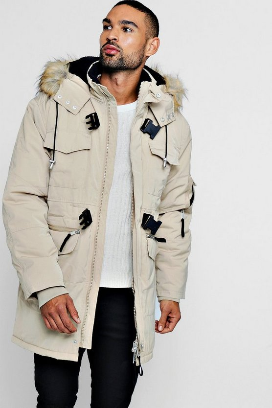 Mens Stone Faux Fur Trimmed hood Double Buckle Parka