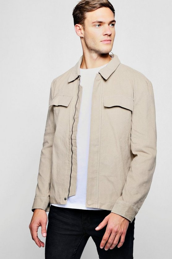 Mens Beige Corduroy Zip Through Shacket