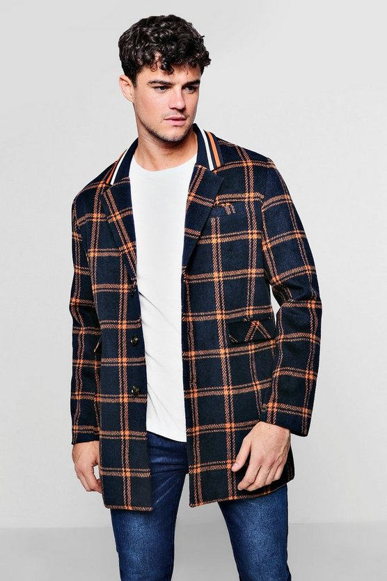 Mens Navy Sports Tape Insert Check Wool Look Coat