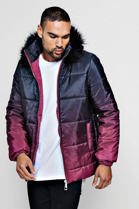 Mens Burgundy Ombre Faux Fur Trim Hood Puffer