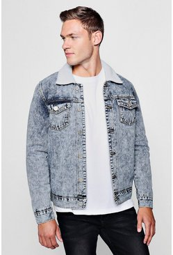 Mens Blue Acid Wash Fully Borg Lined Denim Jacket