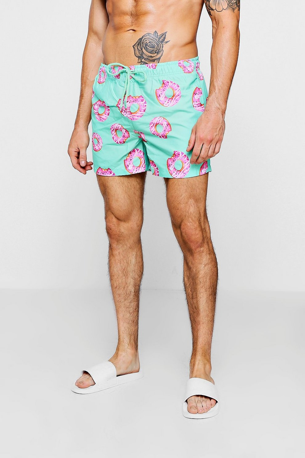 02c1da4e92 Doughnut Printed Swim Shorts | Boohoo