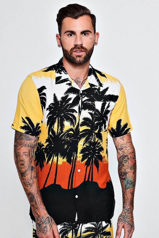 Short Sleeve Palm Print Revere Shirt Co-ord