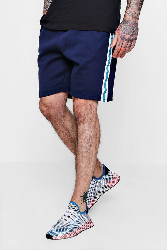 Jersey Mid Length Shorts With Side Tape