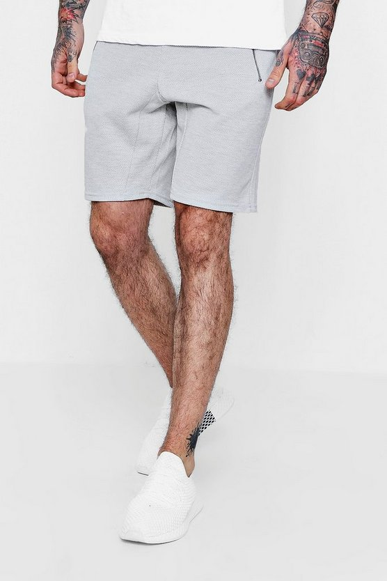 Mens Grey Pique Jersey Short