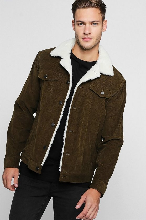 Corduroy Trucker Jacket With Borg Collar