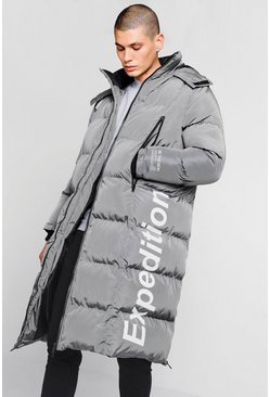 Expedition Longline Duvet Puffer, Grey, МУЖСКОЕ
