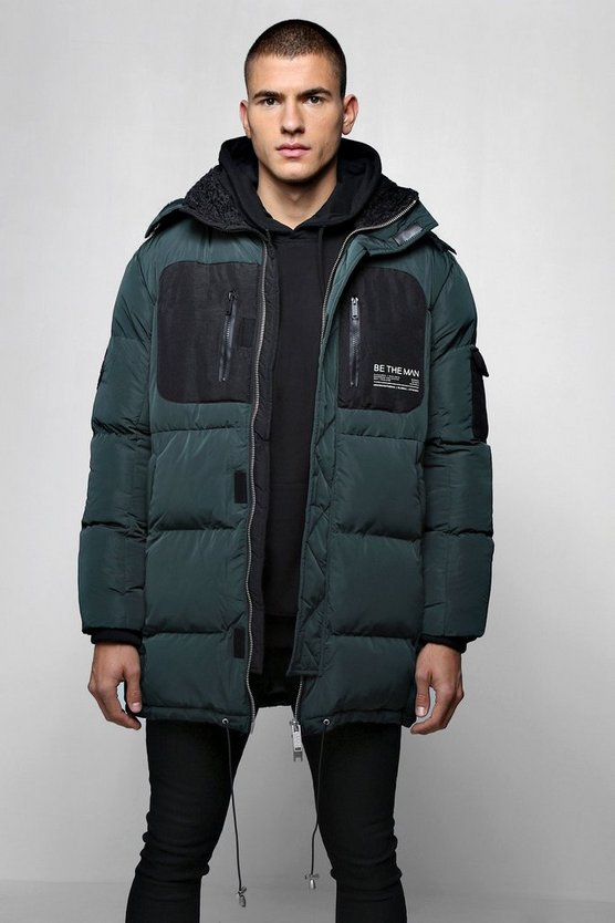Bottle green Colour Block MAN Branded Puffer With Hood