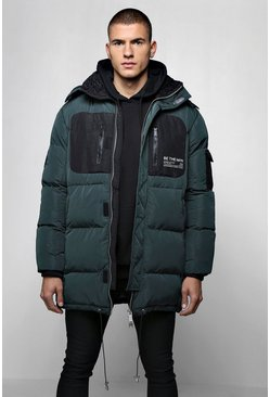 Mens Bottle green Colour Block MAN Branded Puffer With Hood